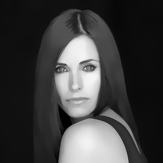 Courteney Cox Digital Art Portrait by David Alexander Elder by David Alexander Elder