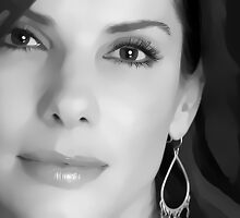 Sandra Bullock Digital Art Portrait by David Alexander Elder by David Alexander Elder