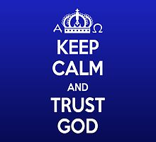 Religious Christian iPhone 4 Case Cover Keep Calm And Trust God Blue by Lana Wynne
