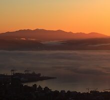 Dawn over Wellington harbour and hills by Duncan Cunningham