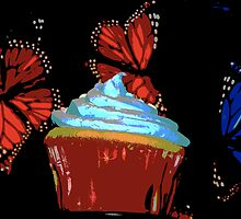 Red and Blue Cupcake and Butterflies by Mylissa Artreche