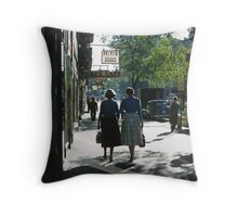 1957 Collins Street in morning Throw Pillow