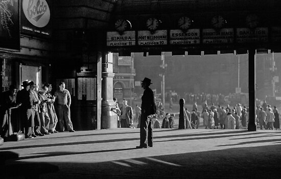 Clockwatcher Flinders Street Station B & W 1958 by Fred Mitchell
