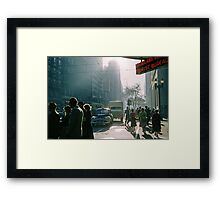Cnr Collins & Elizabeth Streets at end of shopping day 1957 Framed Print