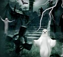 Snowdrop the Maltese Ghost ! by Morag Bates