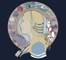 Alice in Wonderland Colorful Art Nouveau  by Christina Smith