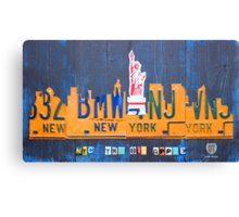 New York City Skyline License Plate Art NYC USA Canvas Print