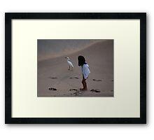 Girl And Heron - Muchacha Y Garza Blanca Framed Print