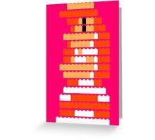 8-Bit Brick Peach Greeting Card