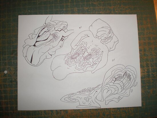 Back Massage / etiquette unique drawing \ For Adv by aaron a amyx