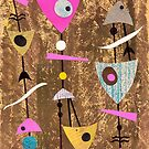 Funky abstract mid century style pink colourful by bearoberts