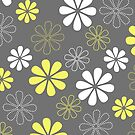 Grey and Yellow Flower Pattern  by runninragged
