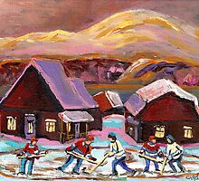 POND HOCKEY 1 by Carole  Spandau