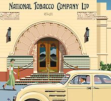 Art Deco Napier Tobacco Building with Chrysler Airflow by contourcreative