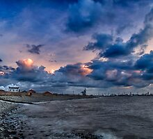 Incoming Tide Sunset at South Gare by Mark White