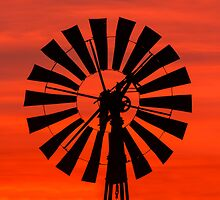 Vintage Windmill at Sunrise by Kenneth Keifer