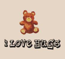 i love hugs teddy bear cute by Tia Knight