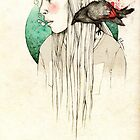 Girl & crow by elia, illustration