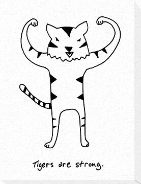 Tigers are Strong Black and White Drawing by DiabolickalPLAN