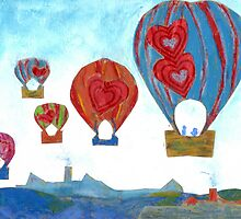 Balloons Over Town (Mixed Media) by Niki Hilsabeck