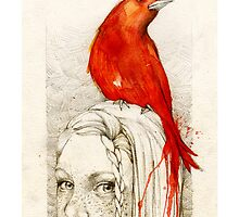 Red Bird_iPhone cases by elia, illustration