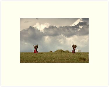 Maasai women carrying a heavy load by Catherine Ames