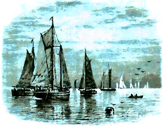 A Fleet of Fishing Schooners Leaving Harbour by Dennis Melling