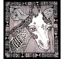 Meanwhile Back In Africa: Sample Doodle Giraffe by Lenora Brown