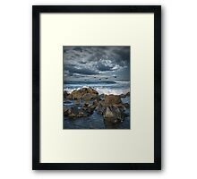 Pelicans over the surf on Coronado Framed Print