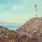 Galloway Lighthouse and Heather  by Lynne  M Kirby BA(Hons)
