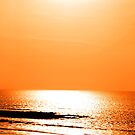 running on sunshine reflected on a golden beach by morrbyte