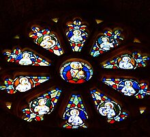 Circular Stain Glass Window At St Michaels Mount Church,Cornwall  by lynn carter