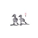 "print of original painting Japanese sumi-e ""Two duckling friends"" by irina0707"