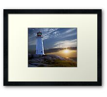Sunset at Peggys Cove Lighthouse in Nova Scotia  Framed Print