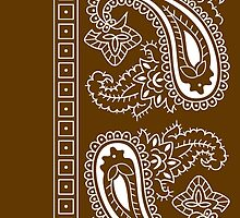 Brown and White Paisley Bandana  by ShowYourPRIDE