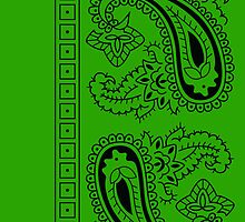 Light Green and Black Paisley Bandana  by ShowYourPRIDE