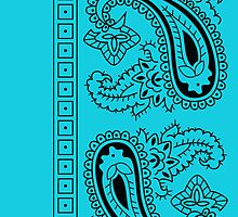 Teal and Black Paisley Bandana   by ShowYourPRIDE