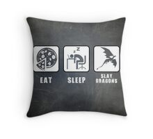 Eat, Sleep, Slay Dragons Throw Pillow