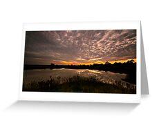 Rural Dam Sunset Greeting Card