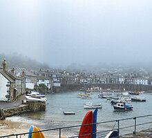 Misty Mousehole Harbour Early Morning by lynn carter