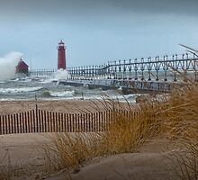 New Years Day Storm at the Grand Haven Lighthouse by Randall Nyhof