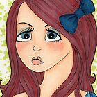 Brunette with Blue Bow by lexilou37