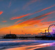 Santa Monica Pier Sunset by Eddie Yerkish
