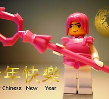 Happy Chinese New Year Greeting Card, with Custom LEGO® Ching Dynasty Hero Minifig by Customize My Minifig by Chillee