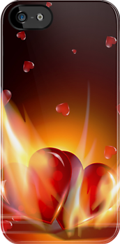 Romantic Burning Hearts  iPhone 5 Case / iPhone 4 Case  by CroDesign