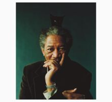 Morgan Freeman with a Cat on his Head by iHaaaZaHD