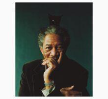 Morgan Freeman with a Cat on his Head by iHaaaZaHD