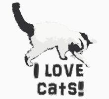 I love cats! (Black & White) Kids Clothes