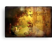 The Death of Mary Ann Canvas Print