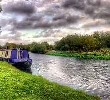 Narrowboat moored on the River by Vicki Field